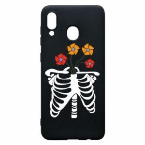 Etui na Samsung A20 Bones with flowers