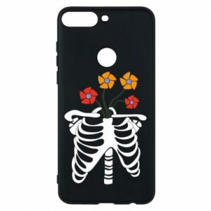 Phone case for Huawei Y7 Prime 2018 Bones with flowers