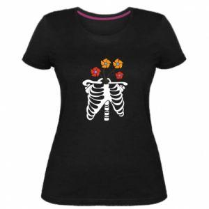Damska premium koszulka Bones with flowers