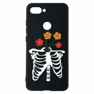 Phone case for Xiaomi Mi8 Lite Bones with flowers