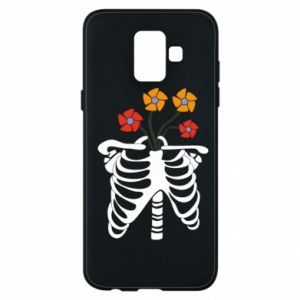 Phone case for Samsung A6 2018 Bones with flowers