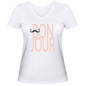 Damska koszulka V-neck Bonjour