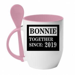 Mug with ceramic spoon Bonnie Together since: 2019 - PrintSalon