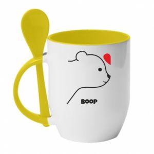 Mug with ceramic spoon Boop for her - PrintSalon