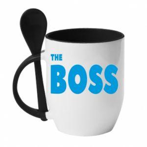 Kubek z ceramiczną łyżeczką Boss - PrintSalon
