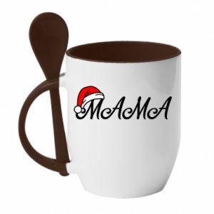 Kubek z ceramiczną łyżeczką Boże Narodzenie. Mama