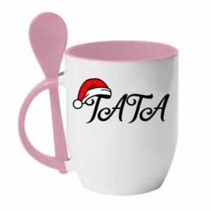 Kubek z ceramiczną łyżeczką Boże Narodzenie. Tata