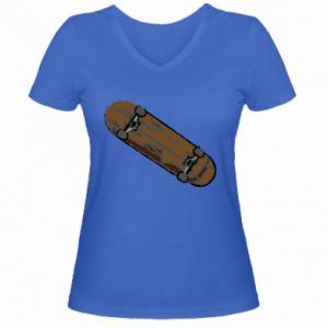 Damska koszulka V-neck Brązowa deskorolka - PrintSalon