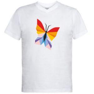 Men's V-neck t-shirt Bright butterfly abstraction - PrintSalon