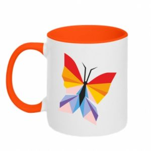 Two-toned mug Bright butterfly abstraction - PrintSalon