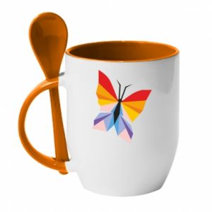 Mug with ceramic spoon Bright butterfly abstraction - PrintSalon