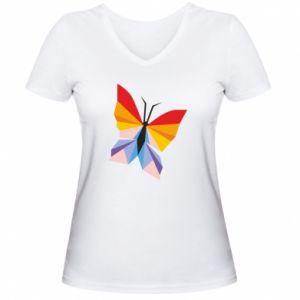 Women's V-neck t-shirt Bright butterfly abstraction - PrintSalon