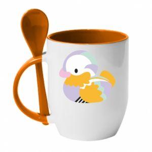 Mug with ceramic spoon Bright colored duck - PrintSalon