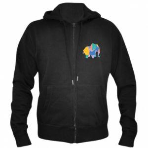 Men's zip up hoodie Bright elephant abstraction - PrintSalon