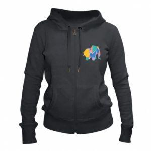 Women's zip up hoodies Bright elephant abstraction - PrintSalon