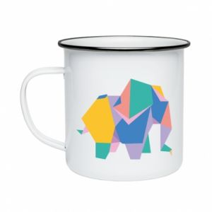 Kubek emaliowane Bright elephant abstraction