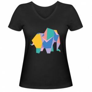 Women's V-neck t-shirt Bright elephant abstraction - PrintSalon