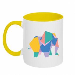 Two-toned mug Bright elephant abstraction - PrintSalon