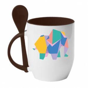 Mug with ceramic spoon Bright elephant abstraction - PrintSalon