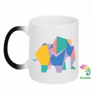 Chameleon mugs Bright elephant abstraction - PrintSalon