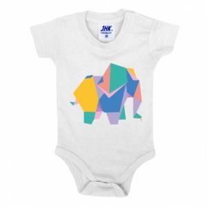 Baby bodysuit Bright elephant abstraction - PrintSalon