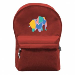 Backpack with front pocket Bright elephant abstraction - PrintSalon