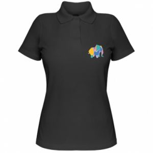 Damska koszulka polo Bright elephant abstraction