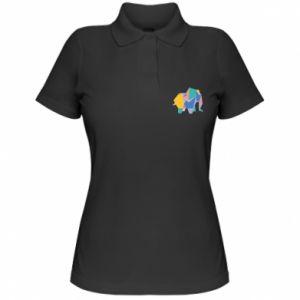 Women's Polo shirt Bright elephant abstraction - PrintSalon