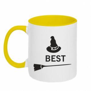 Two-toned mug Broom and hat Best - PrintSalon