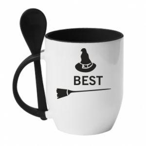 Mug with ceramic spoon Broom and hat Best - PrintSalon