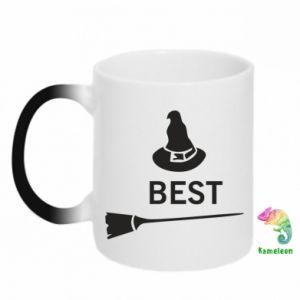 Kubek-kameleon Best Witches. Miotła i kapelusz