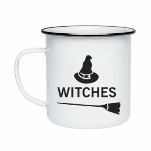 Enameled mug Broom and hat Witches - PrintSalon