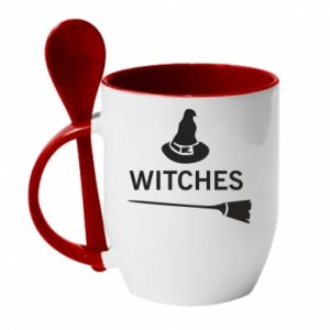 Mug with ceramic spoon Broom and hat Witches - PrintSalon