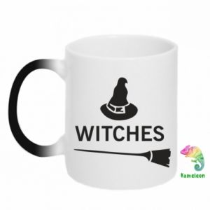 Chameleon mugs Broom and hat Witches - PrintSalon