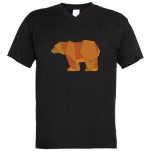 Męska koszulka V-neck Brown bear abstraction