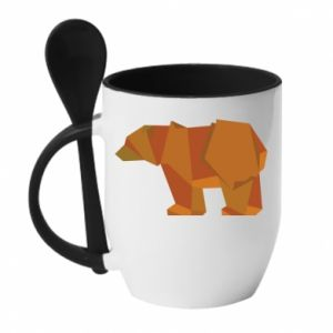 Mug with ceramic spoon Brown bear abstraction - PrintSalon