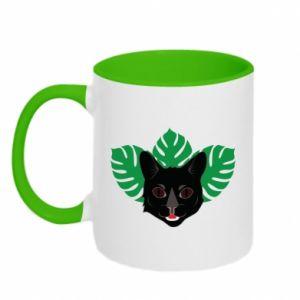 Kubek dwukolorowy Brown-eyed panther - PrintSalon