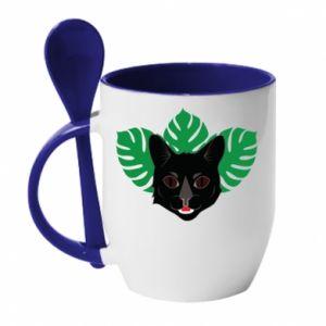 Kubek z ceramiczną łyżeczką Brown-eyed panther - PrintSalon