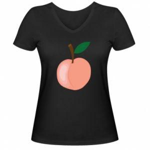 Damska koszulka V-neck Brzoskwinia
