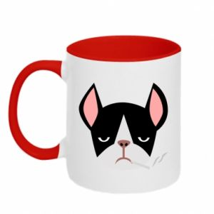 Two-toned mug Bulldog smoking