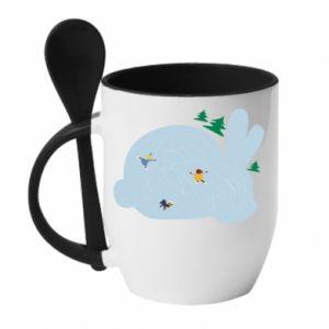 Mug with ceramic spoon Bunny - PrintSalon
