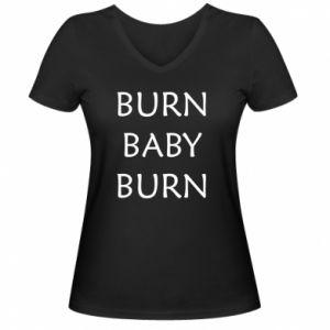 Damska koszulka V-neck Burn baby burn