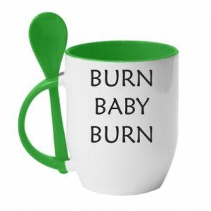Kubek z ceramiczną łyżeczką Burn baby burn