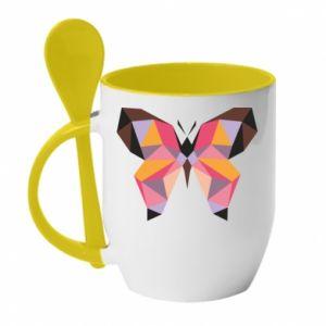 Mug with ceramic spoon Butterfly graphics - PrintSalon