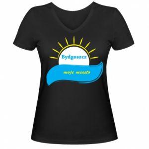Women's V-neck t-shirt Bydgoszcz this is my city