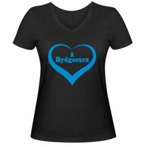 Damska koszulka V-neck I love Bydgoszcz - PrintSalon