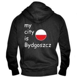 Męska bluza z kapturem na zamek My city is Bydgoszcz