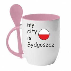 Kubek z ceramiczną łyżeczką My city is Bydgoszcz