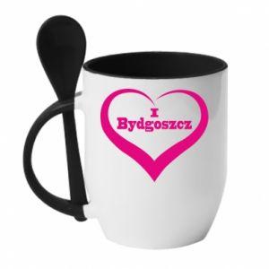 Kubek z ceramiczną łyżeczką I love Bydgoszcz - PrintSalon