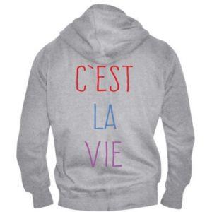 Męska bluza z kapturem na zamek C'est la vie